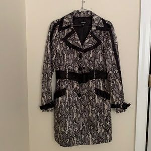 Bebe Lace Print Trench Coat